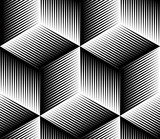 Black and white illusive abstract geometric seamless 3d pattern. - 84600753