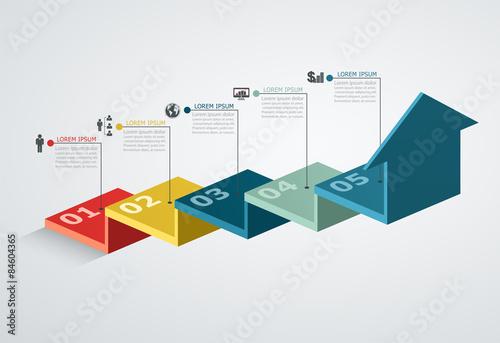 Fotografía  Infographic design template with step structure up arrow, Busine