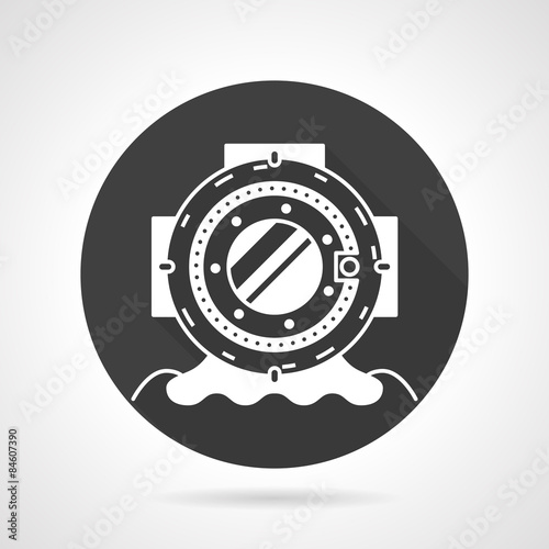 Fotografie, Obraz  Old dive helmet black round vector icon