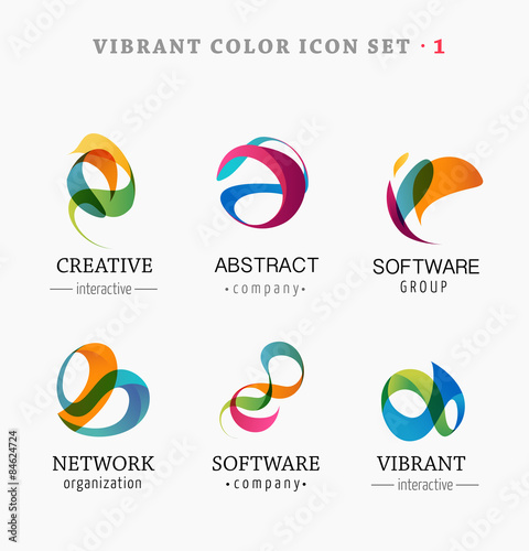 Fotografía  Set of trendy abstract, vibrant and colorful icons
