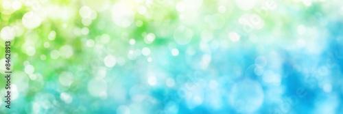 Fotografie, Obraz  Rozostřeným upozorňuje v zelené a modré, formátu panorama