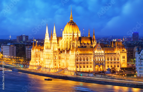 Fotografia  Budapest at night - Parliament, Hungary