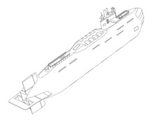 The Submarine Nuclear Outline Drawing On A White Background