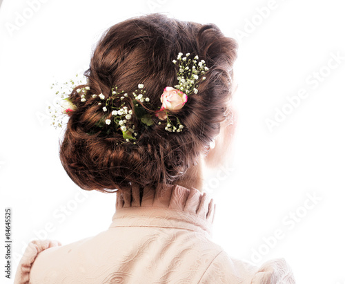 back view of beautiful haircut with small flowers Wallpaper Mural
