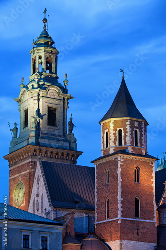 Towers of the Wawel Royal Cathedral in Krakow by Night #84652557