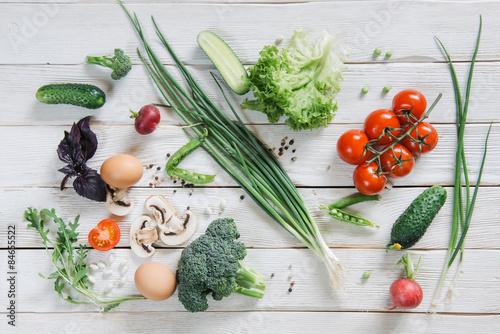 Spoed Foto op Canvas Eten Healthy vegetarian food on white rustic wooden background