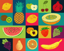 Pop Art Grunge Style Fruit Poster. Collection Of Retro Fruits.