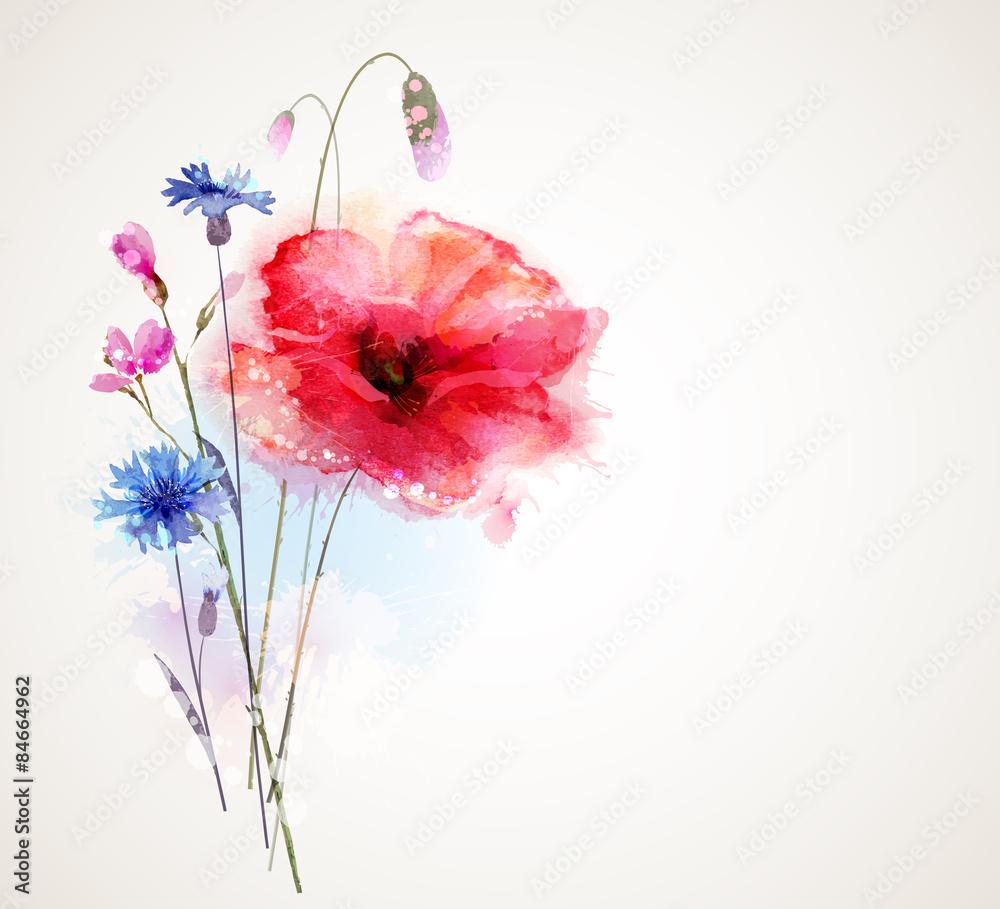 Kwiatowy bukiet z maku i chabrów