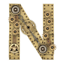 Steampunk Alphabet Letter N