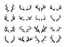 Vector Deer Antlers Black Icon...