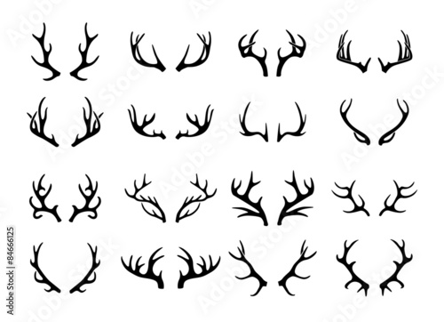 Vector deer antlers black icons set Fototapet