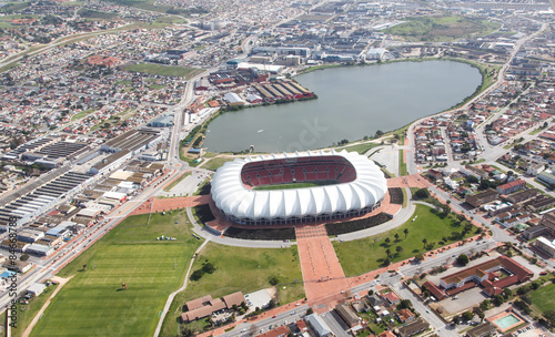 Staande foto Stadion Arial View of Soccer Stadium and Lake