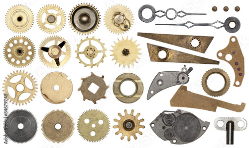 Obraz Set gear, cogwheels, isolated - fototapety do salonu