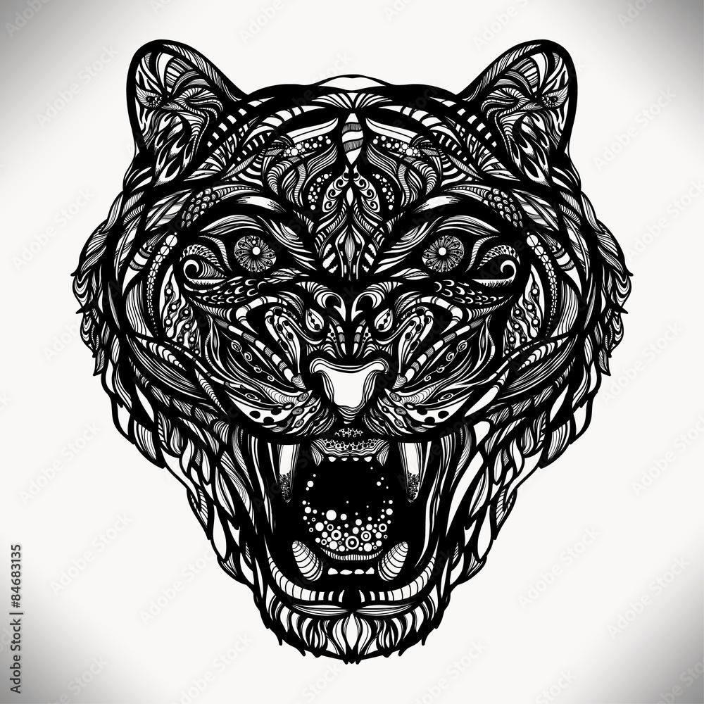 Plakat Rysunek Wektor Dzikie Zwierzę Tygrys Z Uśmiechem Na Dekoracyjny Wzór Linii I Kropek Może Być Używany Do Drukowania Tatuaże I Biżuterii Dla