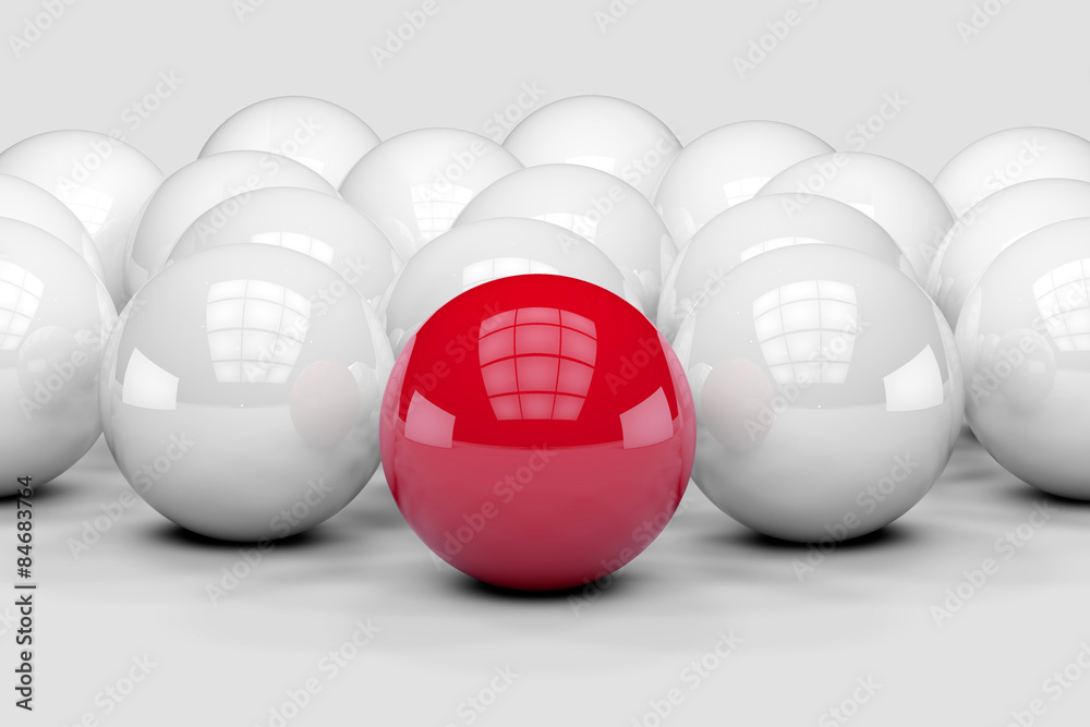Many white balls among which the red stands out. 3D render image