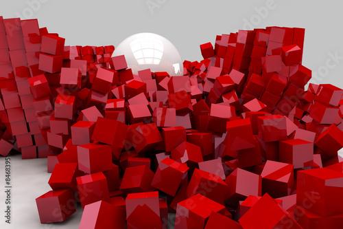 Fototapeta czerwone sześciany i biała kula