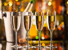 Glasses Of Champagne With Blur Background