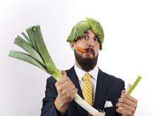 Hombre De Negocios Con Verduras Varias