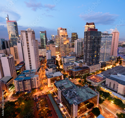 Eleveted, night view of Makati, the business district of Metro Manila.