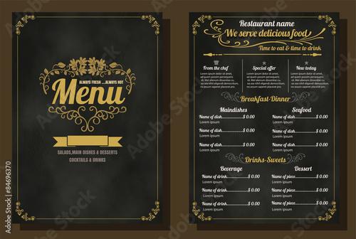 Fototapeta Restaurant Food Menu Vintage Design with Chalkboard Background v obraz