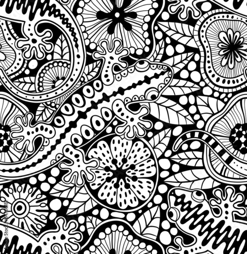 Abstract seamless floral pattern with geckos