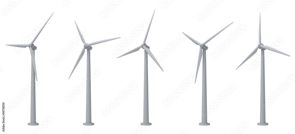 Fototapety, obrazy: wind turbines isolated on white background
