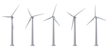 Wind Turbines Isolated On White Background
