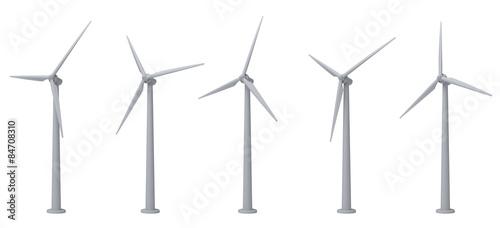 Fotografia  wind turbines isolated on white background