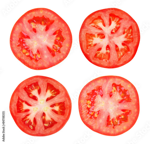 Vászonkép Tomato slice isolated on white background