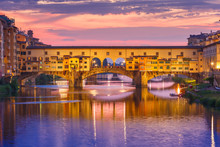 Arno And Ponte Vecchio At Suns...