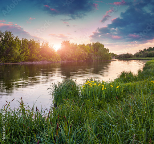 Poster Rivière de la forêt Dramatic sunset over flowering meadow by river in summer