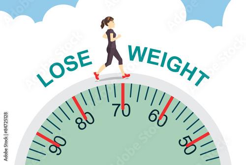 Fotografía  Healthy women lose weight with jogging on big scale, health