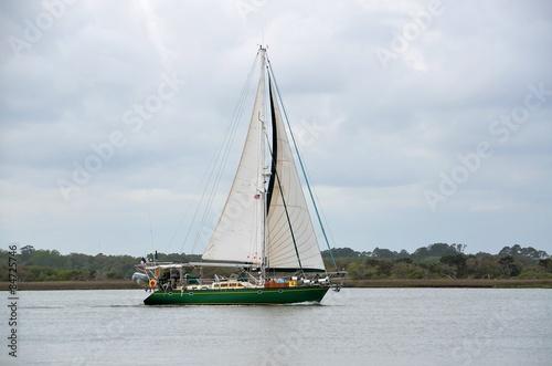 Foto auf Acrylglas Schwan Yacht sailing on the river