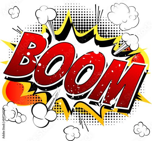 Fotografie, Obraz  Boom - Comic book, cartoon explosion isolated on white background