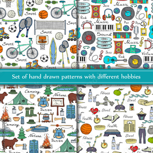 Fotografia  Vector set of hand drawn seamless patterns with different hobbies on white background