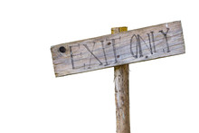 Wooden Exit Only Sign