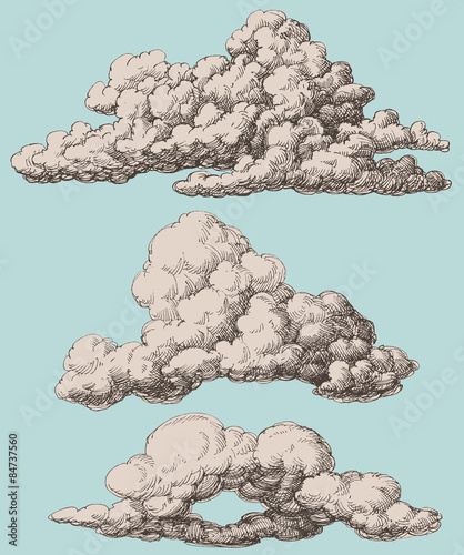 Valokuva  Detailed vintage style clouds vector set