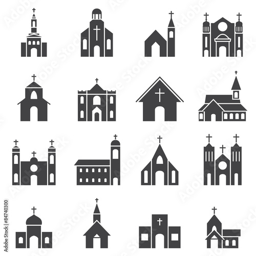 Cuadros en Lienzo church building icon vector set