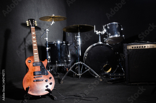Set of musical instruments in club - 84740771