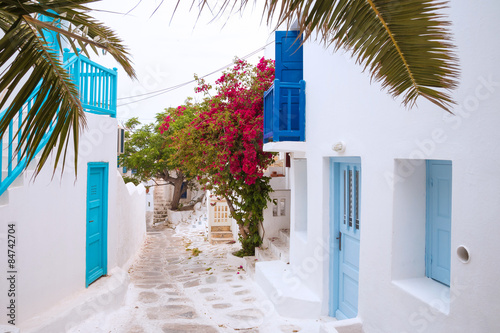 Streetview of Mykonos with palm leaves, Greece Canvas Print