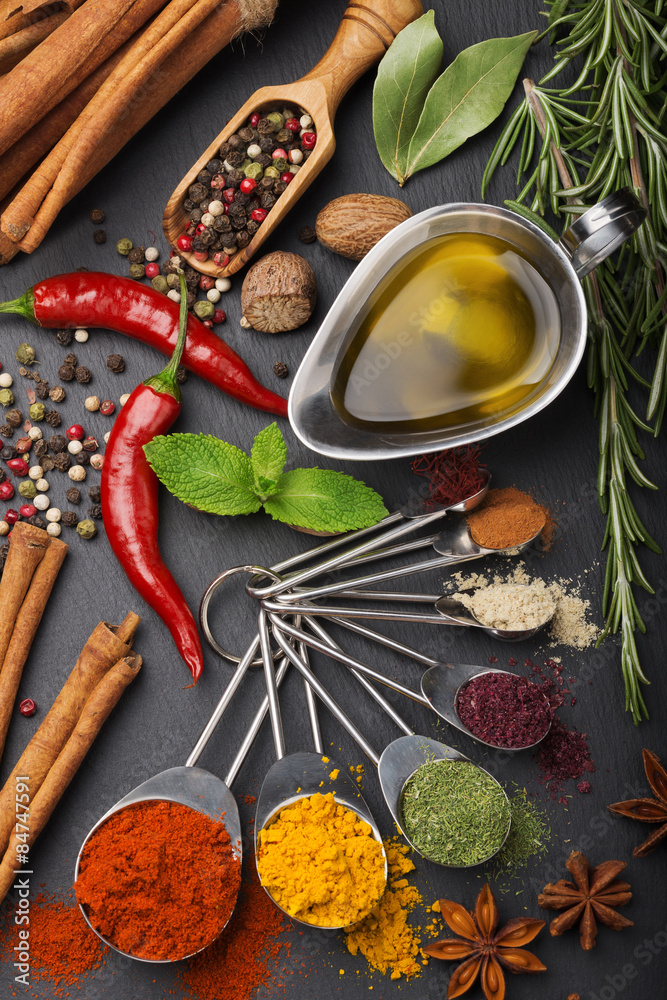 Fototapeta still life with spices and olive oil