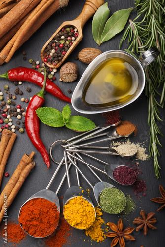 Fototapety, obrazy: still life with spices and olive oil