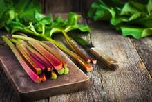 Fresh Organic Rhubarb On Cutting Board