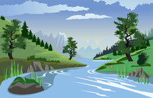 River Flowing Through Hills