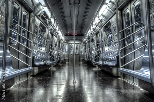 Empty subway cart in New York