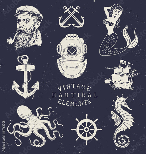 Fotografia  Vintage Hand Drawn Nautical Set
