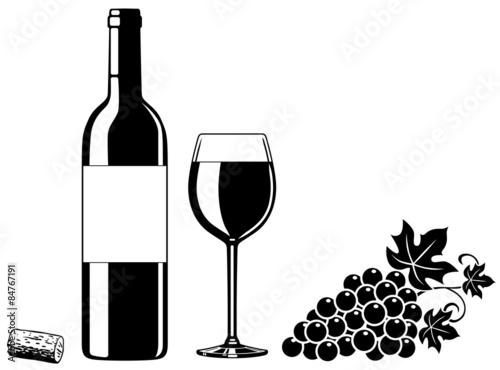 Fotografía  SET: Weinflasche, Weinglas, Weintrauben, Korken / Vektor