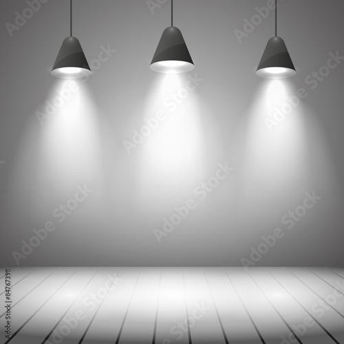 Foto op Canvas Licht, schaduw Studio interior with white wall and spot illumination