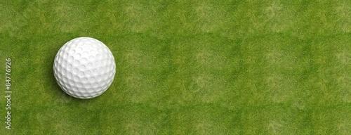 Deurstickers Golf Golf ball on green turf banner