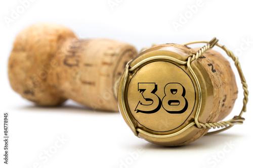 Poster Champagnerkorken Jubiläum 38 Jahre